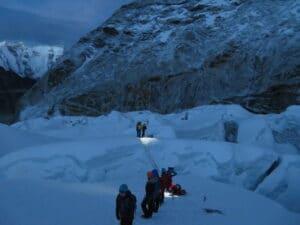 Morning on the Island Peak glacier