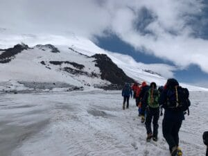Hiking up Elbrus from the southern side