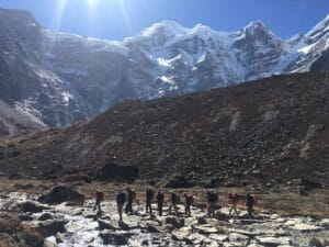 Trekking below Mera Peak