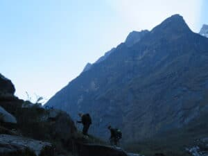 Step trail on route to Annapurna