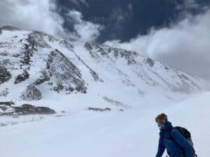 Skiing off Quandary Peak