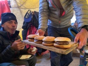 Eating burgers on Aconcagua