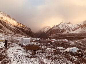 Clouds roll into Aconcagua Base Camp