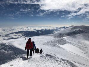 Walking off the summit of Elbrus