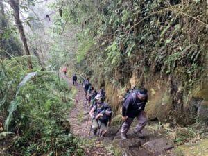 Hiking to the sun gate to Machu Picchu