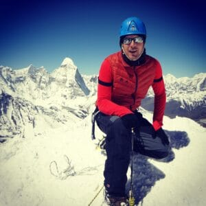 Ian Taylor on the summit of Island Peak