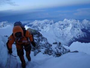 Summit ridge on Mount Everest