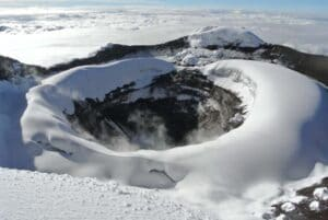 The volcanic crater on Cotopaxi