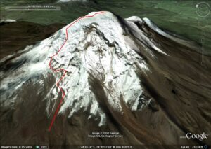 The trail to the summit of Chimborazo